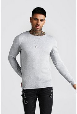 Knitted Long Sleeve Crew Neck Jumper, Grey
