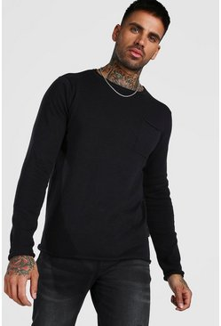 Knitted Long Sleeve Crew Neck Jumper, Black