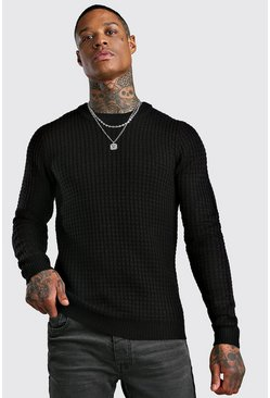 Fisherman Knitted Jumper, Black