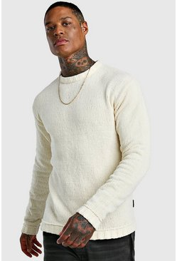Chenile Chunky Knitted Jumper, Cream