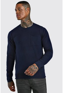 Crew Neck Jumper With Pocket, Navy
