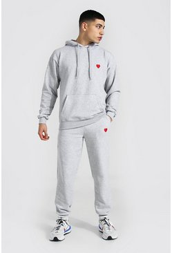 Grey marl Valentines Heart Embroidered Hooded Tracksuit