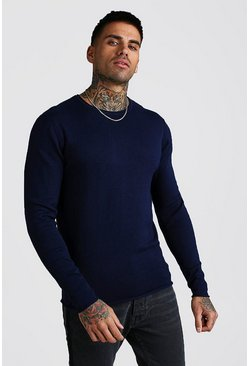 Knitted Long Sleeve Crew Neck Jumper, Navy