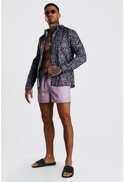 Taupe Long Sleeve Printed Shirt & Swim Short Set