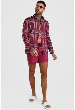 Burgundy Long Sleeve Printed Shirt & Swim Short Set