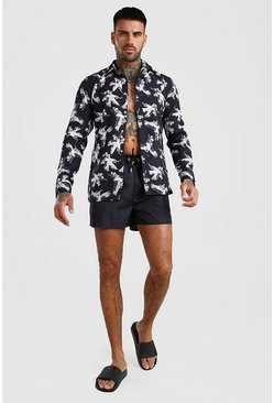 Black Long Sleeve Printed Shirt & Swim Short Set