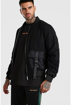 Black MAN Utility Buckle Padded Bomber Jacket
