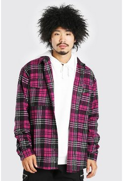 Pink Oversized Long Sleeve Check Shirt