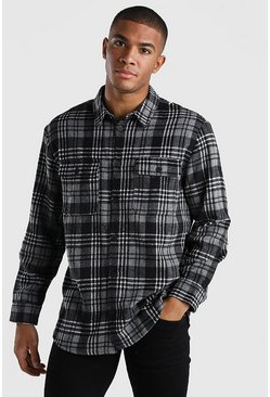Charcoal Oversized Long Sleeve Check Shirt