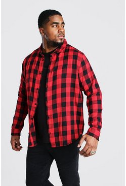 Red Big And Tall Long Sleeve Check Shirt