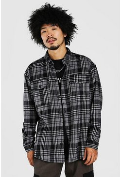 White Oversized Long Sleeve Brushed Flannel Check Shirt
