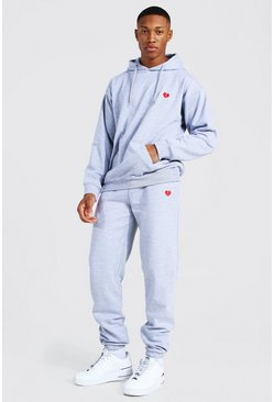 Grey marl Valentines Broken Heart Embroidered Tracksuit