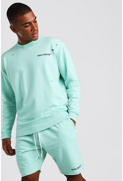 Mint Loose Fit Man Official Distressed Sweatshirt