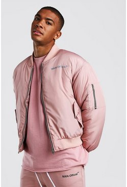 Mauve Oversized Man Official Padded Bomber Jacket