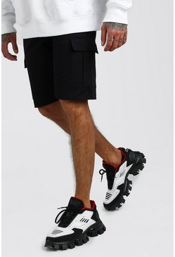 Black Mid Length Cargo Shorts With Elasticated Waistband
