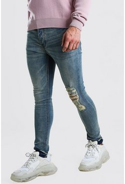 Blue Super Skinny Bleach Wash Jeans With Rip Knee