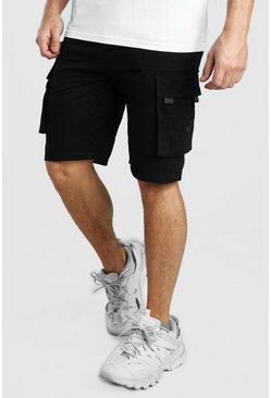 Black Cargo Utility Shorts With TAB Detail
