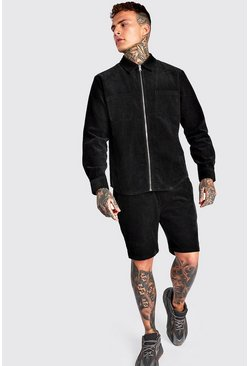 Black Long Sleeve Zip Through Cord Shirt & Short Set