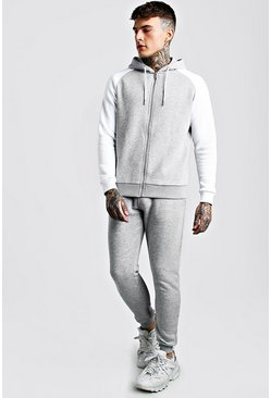 Grey marl MAN Signature Contrast Sleeve Zip Tracksuit