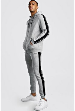 Grey marl Original MAN Zip Hooded Tracksuit With Tape