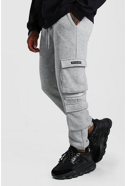 Grey marl Official MAN Cargo Jogger With Zip Detail