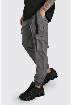 Charcoal Shell 3D Cargo Joggers With Strap Detail