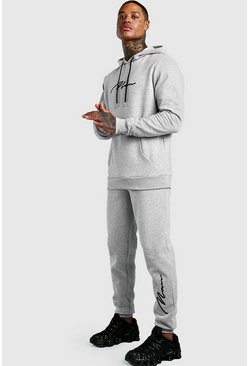 Grey marl 3D MAN Signature Embroidered Hooded Tracksuit
