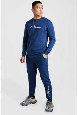 Navy 3D MAN Signature Embroidered Sweater Tracksuit