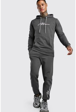 Slate 3D MAN Signature Embroidered Hooded Tracksuit