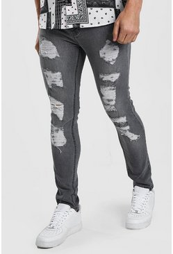 Light grey Skinny Jean With All Over Rips