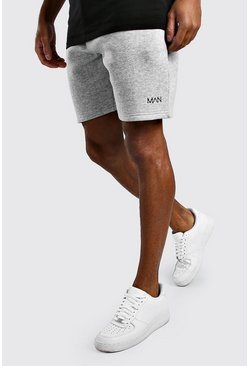 Original MAN Relaxed-Fit Jerseyshorts, Grau meliert