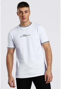 White MAN Signature T-Shirt With Sports Rib Neck And Cuff