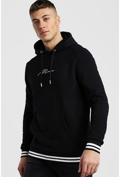 Black MAN Signature Hoodie With Sports Rib