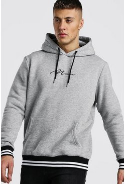Grey MAN Signature Hoodie With Sports Rib