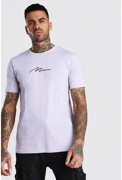 Lilac MAN Signature Embroidered T-Shirt