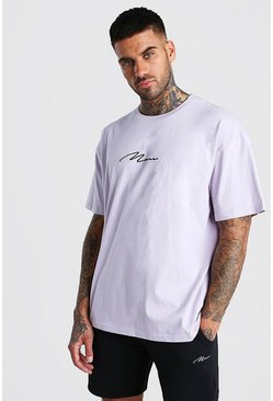 Lilac Oversized MAN Signature T-Shirt