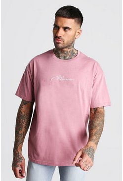 Mauve Oversized MAN Signature T-Shirt