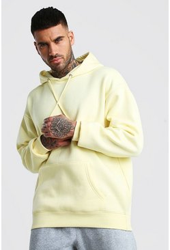 Yellow Basic Oversized Over The Head Fleece Hoodie