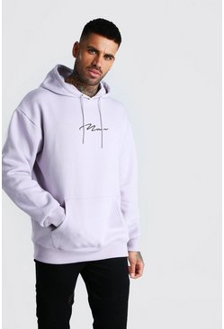 Lilac Oversized MAN Signature Hoodie