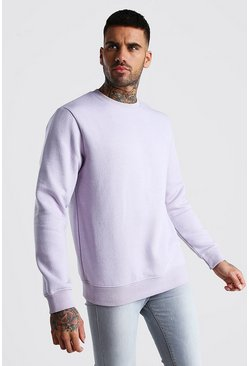 Lilac Basic Crew Neck Fleece Sweatshirt