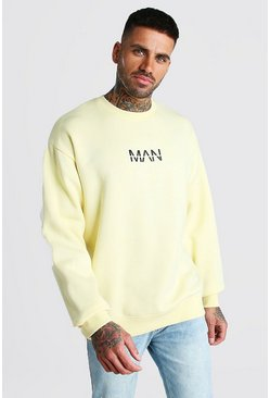 Yellow Oversized Original MAN Print Sweatshirt