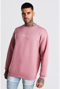 Mauve Oversized MAN Signature Sweatshirt