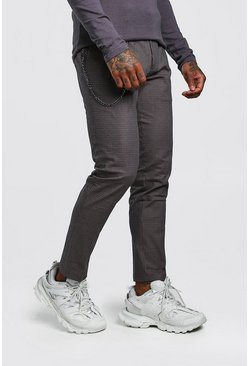 Brown Skinny Fit Micro Check Pants With Chain
