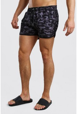 Black Camo Print Runner Swim Short