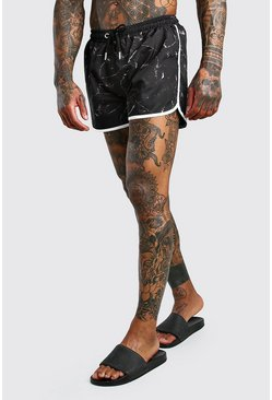 Black Marble Print Runner Swim Short