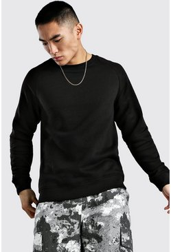 Black Basic Raglan Sweatshirt