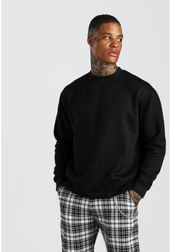 Black Loose Fit Sweatshirt With Extended Neck