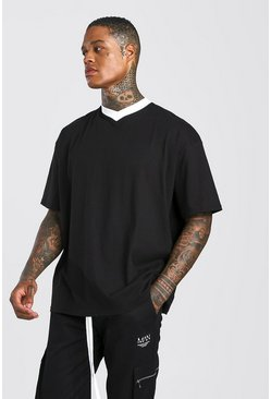 Black Oversized SHort V Neck T-Shirt With Contrast Trim
