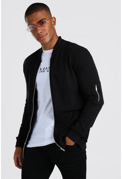 Black Muscle Fit MA1 Jersey Bomber