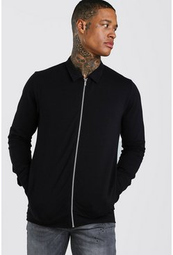 Black Muscle Fit Jersey Harrington